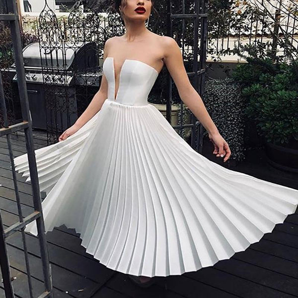 Sexy Pleated Bare Back Splicing Dress