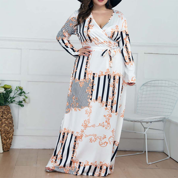 Plus Size Commuting V-Neck Short Sleeve Printed Colour Dress Novelty