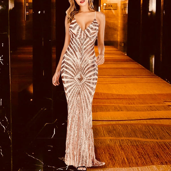 Sexy V Neck Sleeveless Maxi Dress