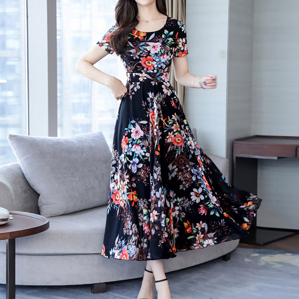 Commuting Round Neck Floral Pattern Dress