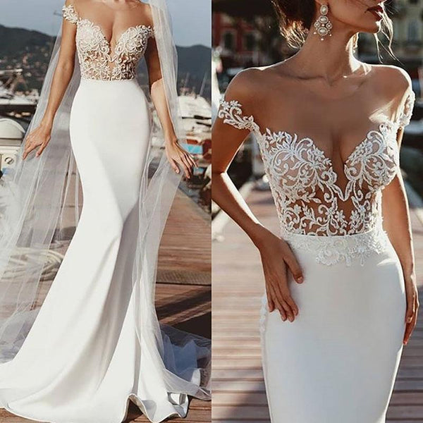 Sexy Deep V-Neck Lace Slim Evening Dress