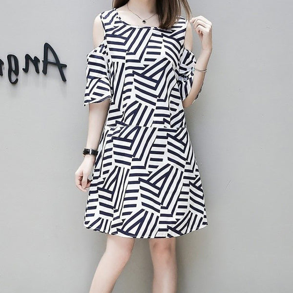 Casual Round Neck Striped Off-Shoulder Dress