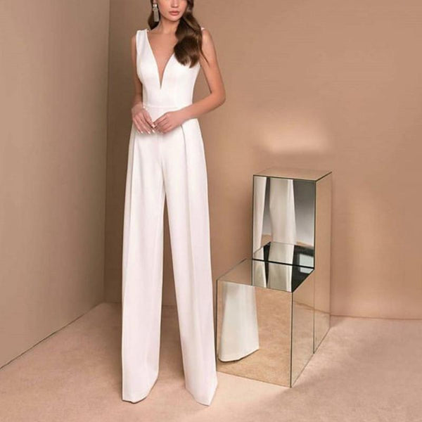 Elegant V Neck Sleeveless White Colour High-Waist Jumpsuit