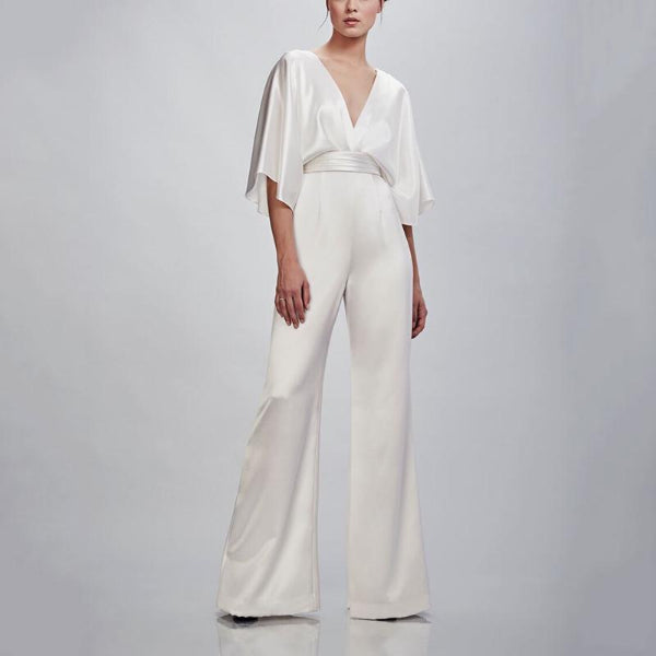Elegant V Neck Long Sleeve Silk Fabric Elastic Jumpsuit