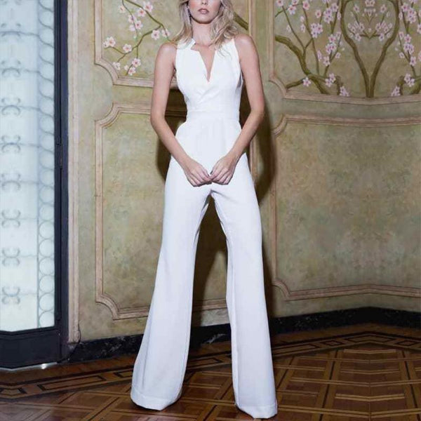 Elegant V Neck Sleeveless Pure Colour High-Waist Jumpsuit