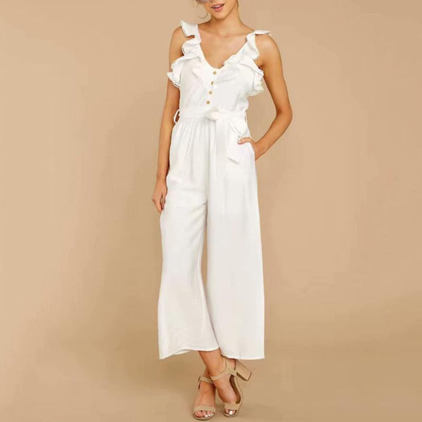 Sweet Round Neck Ruffled Belted Sleeveless Jumpsuit