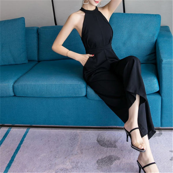 Women's Stand Collar Sleeveless Slim Loose Wide Leg Jumpsuits
