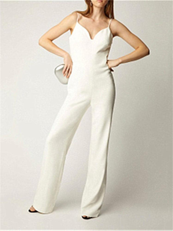 Sexy V Neck Solid Color Sling Jumpsuit