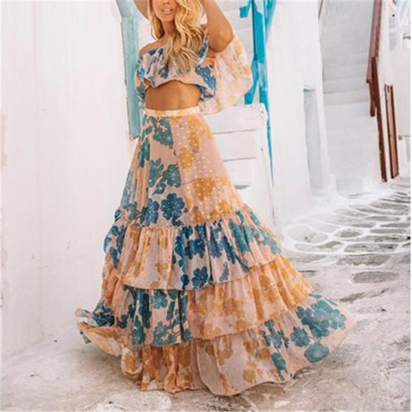 Fashion Sexy One Word Shoulder Umbilical Printed Vest Skirt Suits