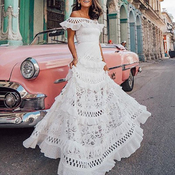 Off-The-Shoulder Ruffled Lace Stitching Dress