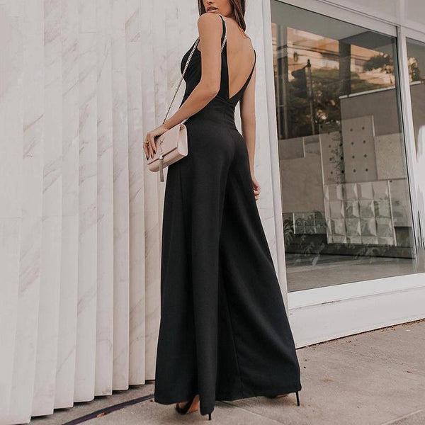 Fashion High-Waist V Neck Pure Colour Off-Shoulder Sleeveless Suit