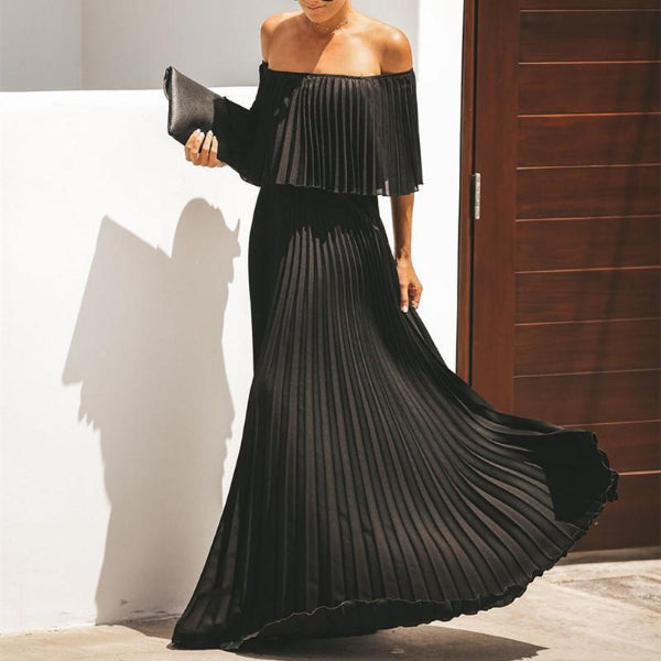 Sexy Solid Color One Word Collar Pleated Maxi Dresses