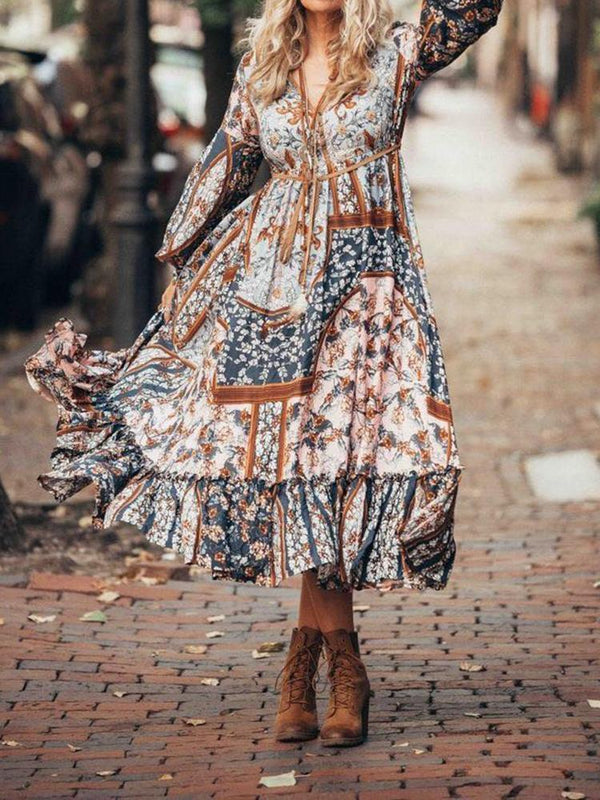 Fashion Bohemian Ethnic Print Dress