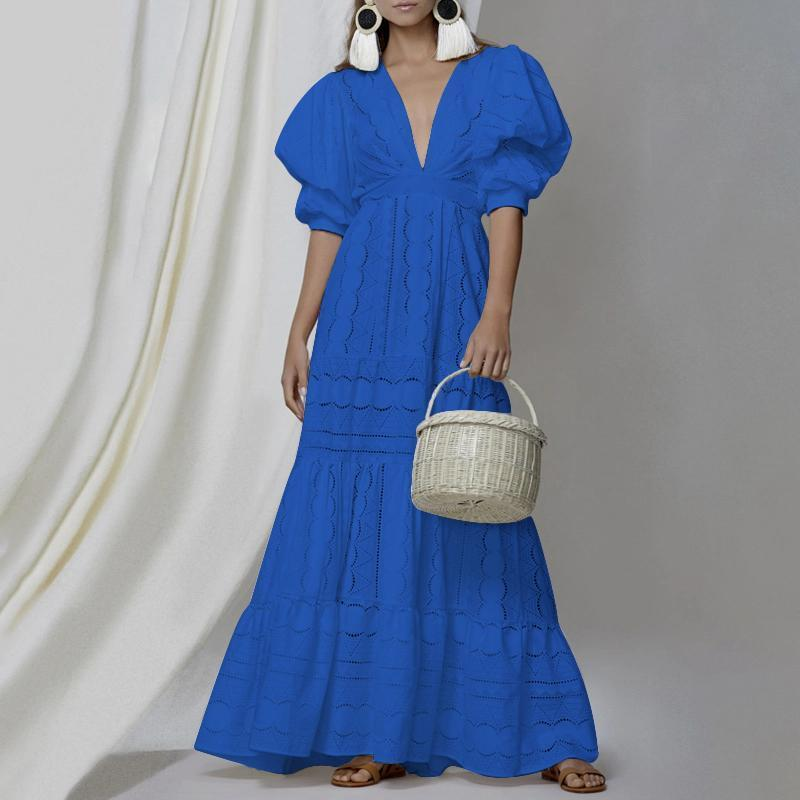 Fashion V Neck Bubble Sleeves Hollow Out Pure Colour Dress