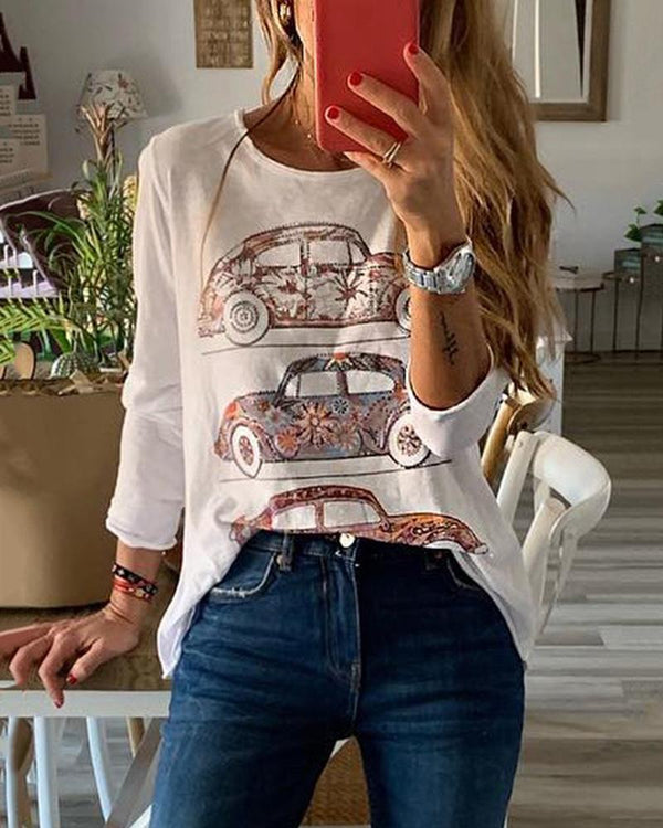 Round Collar Long Sleeved Printed Casual T-Shirt