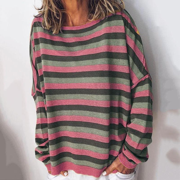 Casual Striped Round Neck Long Sleeve Loose T-Shirt