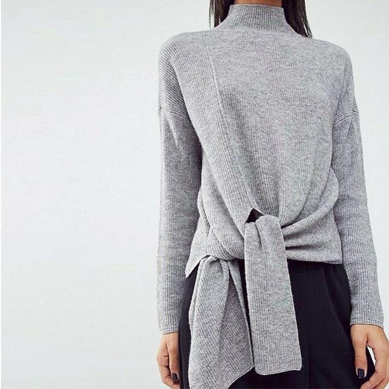 High Neck Long Sleeve Solid Color Knit Sweater