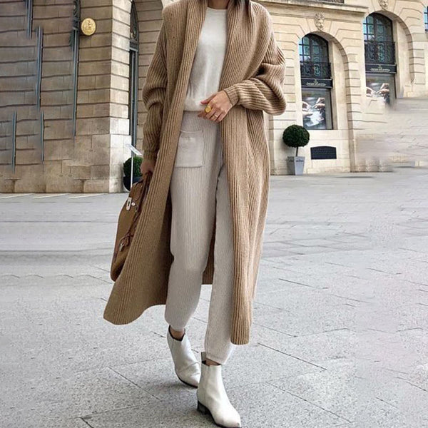 Lapel Long Sleeve Solid Color Cardigan