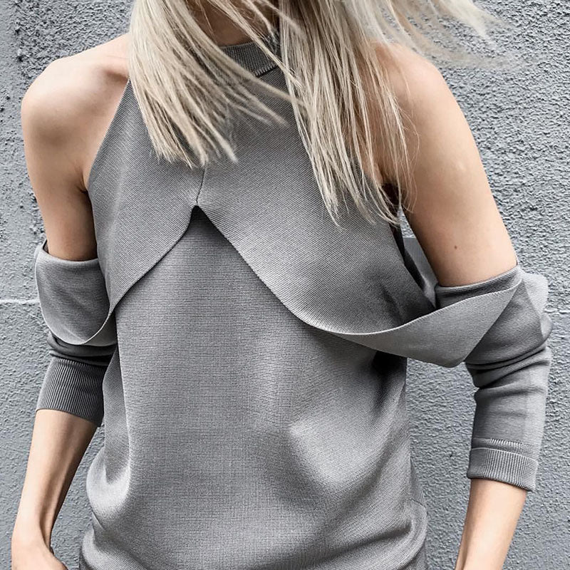 Fashion Strapless Collar Long Sleeve Slim Sweaters