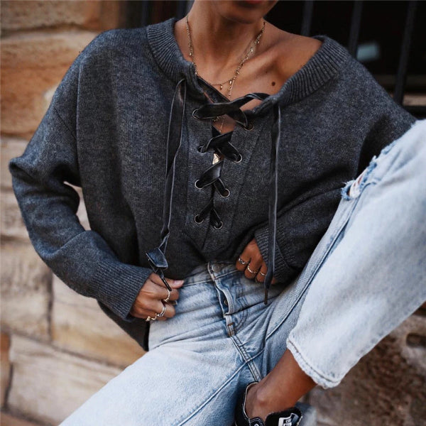 Casual Oversize Cross Strap Pullover Knit T-Shirt