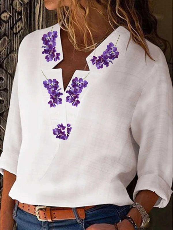 Casual Blended V Neck Printed Color Blouse