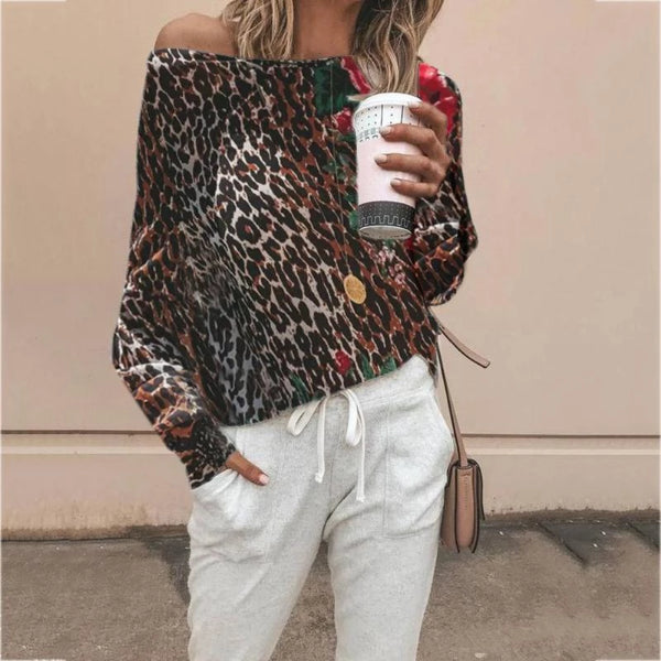 Casual Off-Shoulder Leopard Print Long Sleeve Blouse
