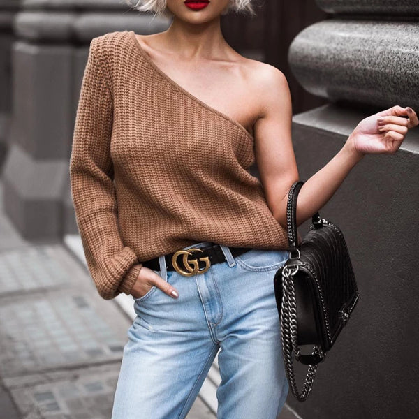 Fashion Casual Single Shoulder Knit Blouse