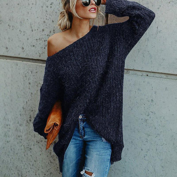 Women's Commuting Sloping Shoulder Pure Color Long Sleeve Sweater