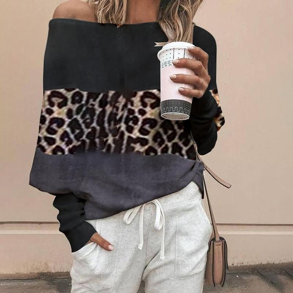 Simple Stitching Leopard Off-The-Shoulder Knitwear