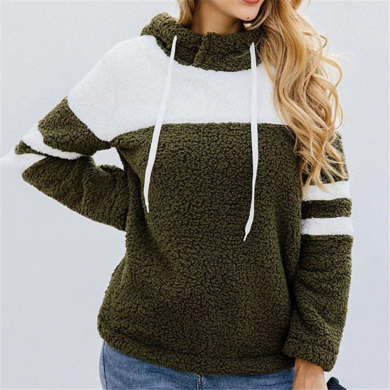 Autumn And Winter Stitching Tethered Hooded Blouse Plush Sweater