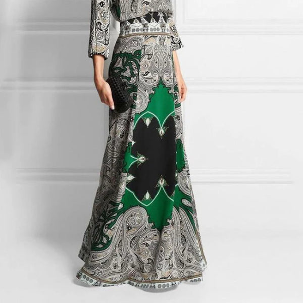 Round-Necked Long-Sleeved Vintage Printed Maxi Evening Dress