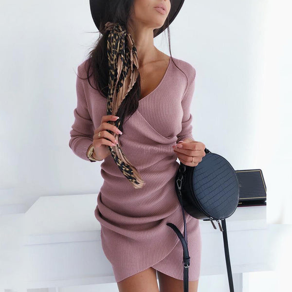 Sexy V-Neck Irregular Tight-Fitting Hip Dress
