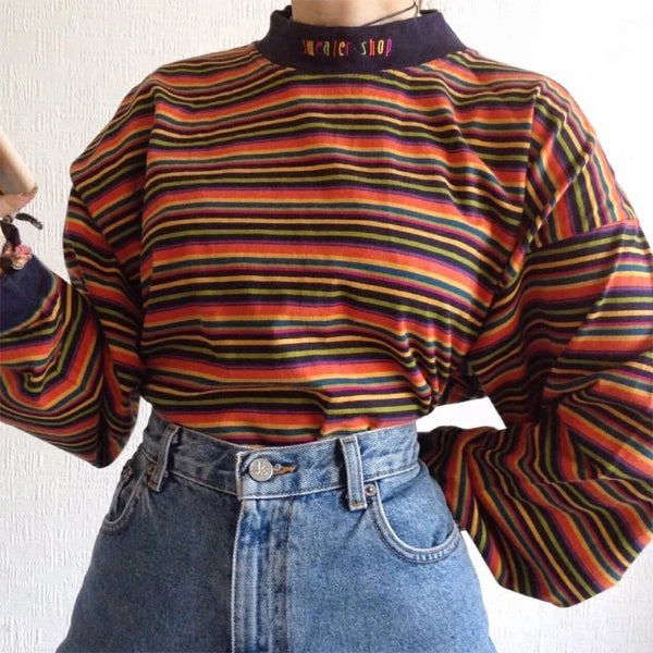 Fashion Round Neck Striped Long Sleeve Sweatshirt