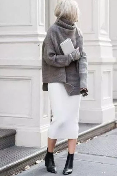 Casual Pure Color High Neck Sweater