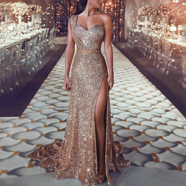 Sexy One Shoulder  Sequined Evening Dress