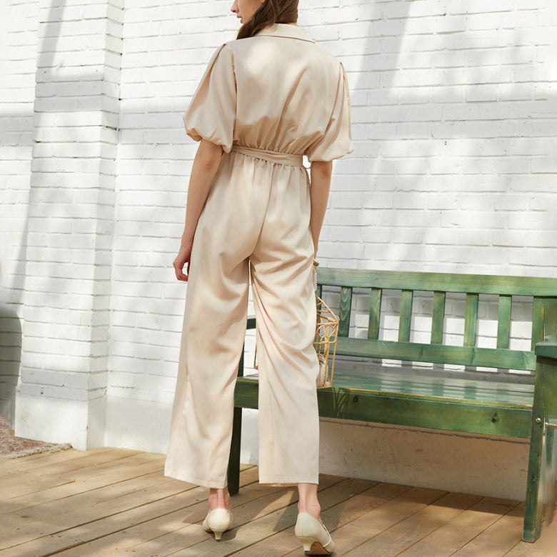 Casual Turndown Collar Bishop Sleeve Jumpsuit