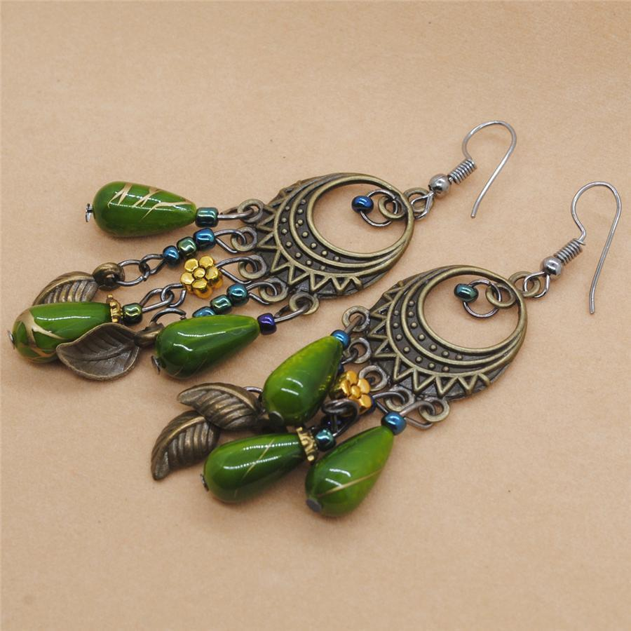 Bohemian   vintage long colored turquoise earrings