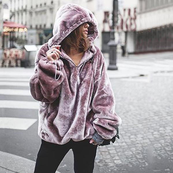 Solid Color Long Sleeved Hooded Hoodie