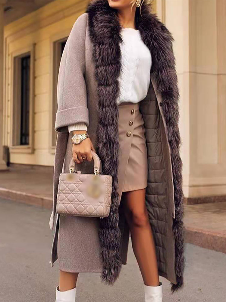 Modern Fur Collar Beige Long Sleeve Plus Velvet Coat