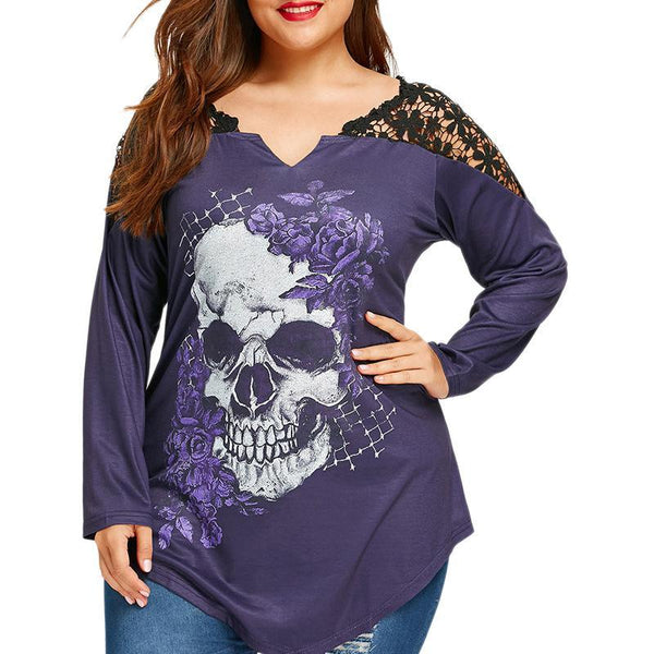 Plus-Size V-Neck Lace Printed Loose Long-Sleeved T-Shirt