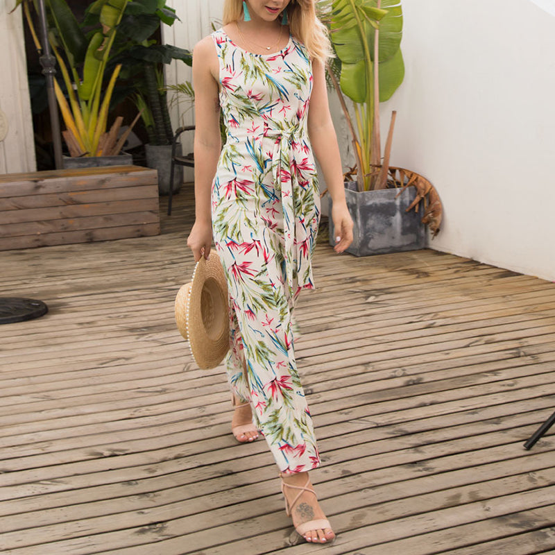 Elegant Chiffon Floral Belt Maxi Dress