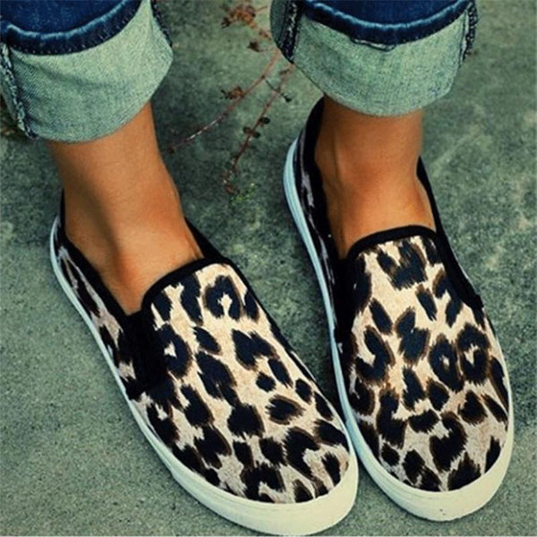Casual Leopard Print Canvas Shoes With Loafers And Loafers