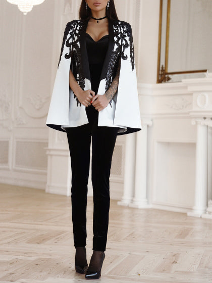 Leisure Print Round Collar Cloak