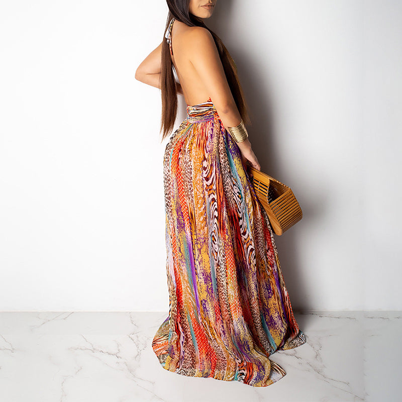 Ladies' Backless Holiday Maxi Dress