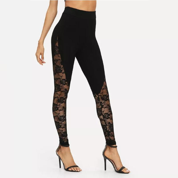 Casual Sexy Lace Yoga Leggings  Tight Pants