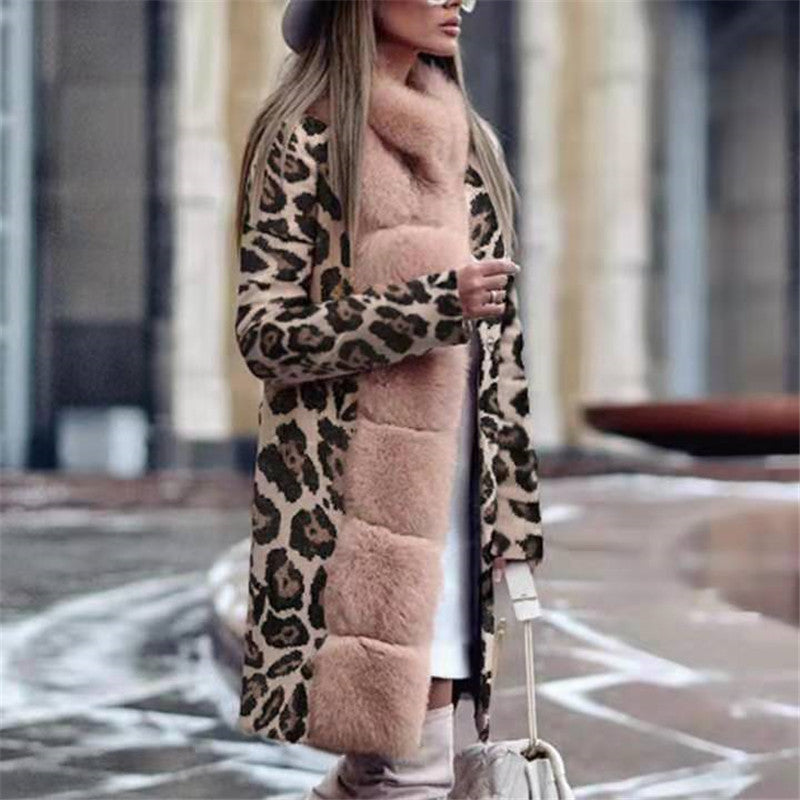 Fashion Long Sleeve Leopard Printed Overcoat