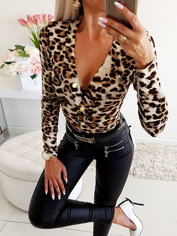 Sexy Deep V-neck Leopard Printed Long Sleeve T-shirts Blouse