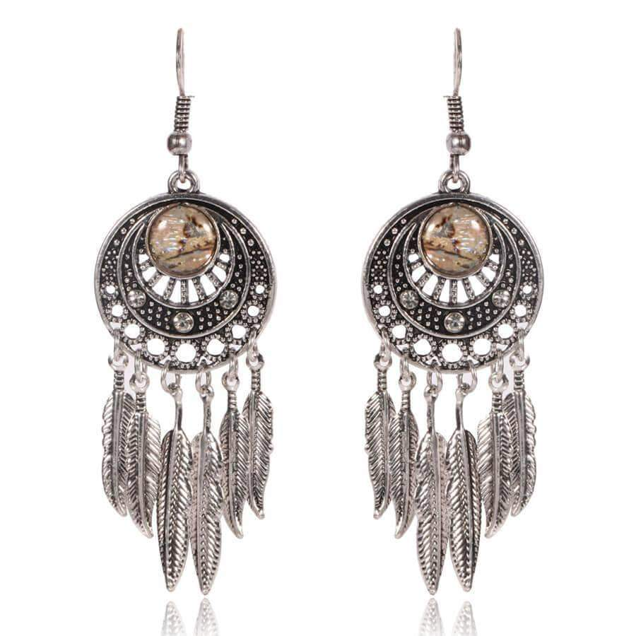 Ethnic style round retro pattern earrings