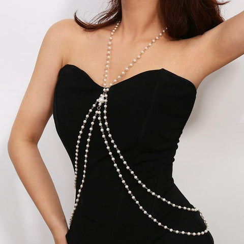 Fashion Simple Pearl Body Chain Shawl Chain Necklace