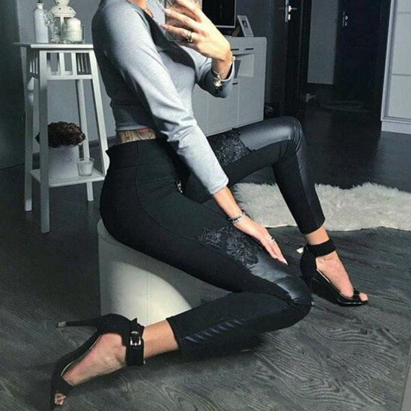 Casual Fashionable PU collage tall waist tight pants
